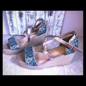 Shoes - Glittery espadrilles.Brand new never worn.